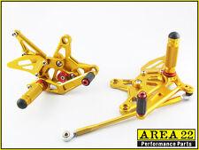 Area 22 Adjustable Rear Sets Footpegs Gold Rearsets Kawasaki ZX6R 2009 - 2012