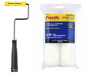 """PURDY@ JUMBO MINI ROLLER FRAME WITH ROLLERS 6.5"""" TWIN PACK -FAST DISPATCH"""