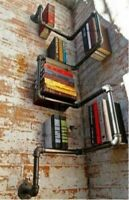 FUNKY WALL MOUNTED BOOK SHELF / SHELVES / BOOKCASE! VINTAGE STEAMPUNK INDUSTRIAL