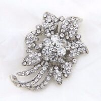 Clear Crystal Rhinestone Silver Tone Flower Wedding Brooch Pin Jewelry