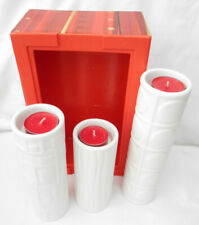 3 x partylite white pottery slim vases/candle holders in a modern design