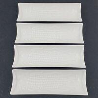 "FITZ & FLOYD ~ Set Of Four Porcelain 8 1/4"" Corn On The Cob Dishes ~ Circa 1976"