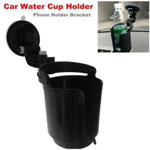 Car Water Cup Holder Drink Barrel w/ Suction Cup Phone Holder Bracket Adjustable