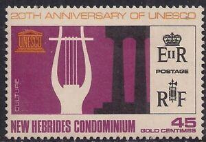 New Hebrides 1966 QE2 45 Gold Centimes UNESCO Umm SG 124 ( H1106 )