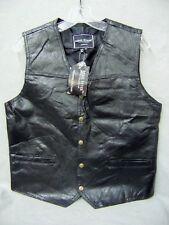 Vintage Rebel Ryder Leather Patchwork Biker Motorcycle Black Vest Mens S