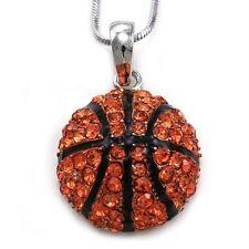 Basketball Pendant Necklace Silver Tone Orange Rhinestone Sport Costume Jewelry