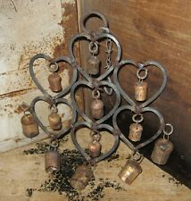 New listing Wrought Iron Heart Cow Bells Wind Chime*Primitive/French Country Farmhouse Decor