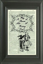 ORIGINAL-Why is a Raven Like a Writing Desk? Dictionary Page Art Print - 329D
