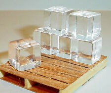 Block Ice Miniatures (6) 1/2 Inch Cubes 1/24 Scale G Scl Diorama Accessory Items