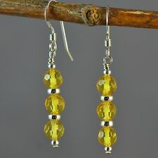 Sterling Silver Natural Lemon Baltic Amber Faceted Dangle Earrings