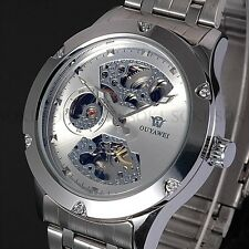 New Skeleton Analog Silver Mens Mechanical Automatic Wrist Steel Band Watch X71