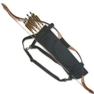 ARCHERY SIDE / BACK BOW HOLDER ARROW QUIVER WITH ZIPPER POCKET 151115BLACK