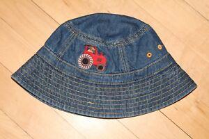 Gymboree Denim Bucket Sun Hat Size 18-24 months Farm Tractor Dog EUC