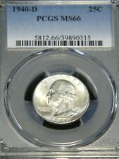 1940-D Washington Silver Quarter PCGS MS66 Full White Great Frosty Luster PQ T29