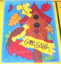 Snowbird Gone South Birdhouse Mini Yard Garden Fall Flag Autumn Leaves 11x15 Nip