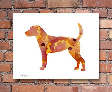 English Foxhound Abstract Watercolor Painting Art Print by Artist Dj Rogers