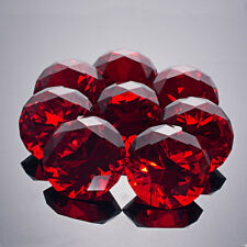 8pcs Red Crystal Glass Paperweight Jewel Faceted Cut Giant Diamond Decor 40mm