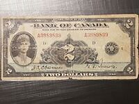 ➡➡1935 Bank of Canada $2 Note RARE Series BC-3 S/N A3989839 Well Circulated