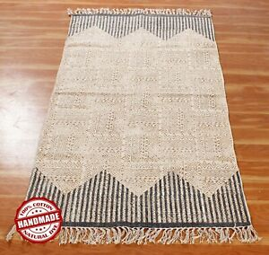 Hand Block Printed Area Rugs Cotton Dhurrie Geometric New Antique Look Runner