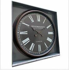"Oversized 30"" Inch Wall Clock Roman Numerals Bronze FrameBlack Insert London"