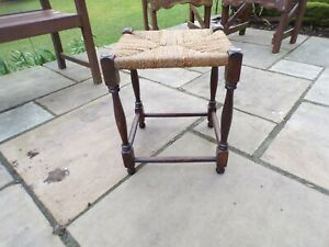 Vintage Wooden STOOL WITH WOVEN TOP 18 INCHES HIGH 14 INCHES SQUARE EXCELLENT