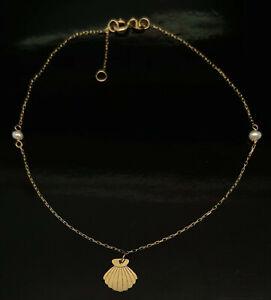 "14K Yellow Gold Sea Shell Dangle Charm Pearl Station Adj Anklet Bracelet-9/10"""
