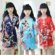 Hot Kid's Girl Peacock Sleepwear Bride Kimono Bath Robe Satin Night Dress Gown