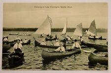 1910 POSTCARD OF CANOEING ON LAKE WASHINGTON SEATTLE WASHINGTON