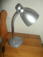 """TESCO METAL SHADE SILVER GREY ADJUSTABLE DESK TABLE LAMP 15"""" WITH ON OFF SWITCH"""