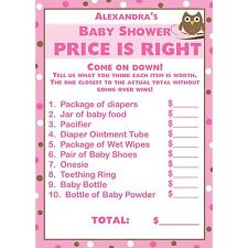 24 Baby Shower Price is Right Game Cards  -  Pink Owl