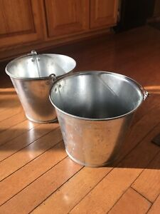 Galvanized Metal Buckets Rustic Farm Country Planter With Handles -2 Total
