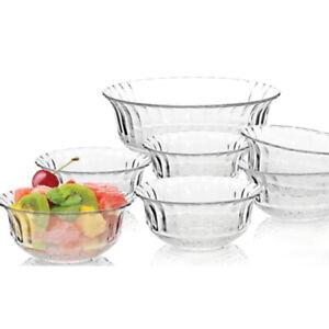 7 Piece Glass Bowls Set Fruit Triffle Salad Bowls Trifle Dessert Ice Cream RND