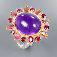 Amethyst Ring Silver 925 Sterling Art Jewelry Gemstone Size 7.5 /R135438