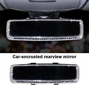 Bling Rhinestone Car Rear View Mirror for Women Rhinestone Car Mirror Cover Trim
