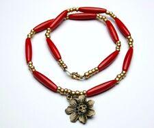 Vintage korall rote Kette mit  böhmischen Glasperlen