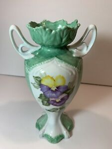 """Hand Painted Vase with Pansies & Green Leaves 8 .5"""" Tall"""