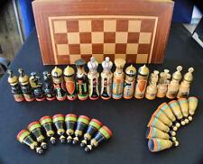 """Unique Wooden Chess Set Hand Painted masterpieces,6""""King Large 20""""x20"""" Board"""