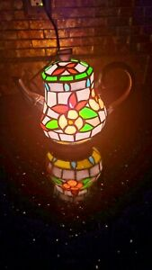 """FLORAL TIFFANY STYLE STAINED GLASS 9"""" TEAPOT ACCENT TABLE LAMP NIGHT LIGHT"""