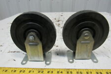 """5"""" x 1"""" Hard Rubber Plate Mount Rigid Caster Lot Of 2"""