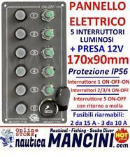 PANNELLO ELETTRICO STAGNO 4 INTERRUTTORI CON SPIE A LED 12 V E PORTAFUSIBILI