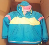 Vintage 80s Nils Neon Jacket Coat Large Skiing Ski Yellow Pink Blue Gore-Tex