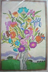 Vintage Bucilla  Mystery Tree   people in flowers  Wool Crewel embroidery kit