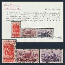 Regno d'Italia 1934 Medaglie tre alti valori n. 374/376 Certificato Diena Usati