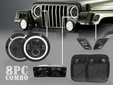 USA 8PCS Jeep Wrangler TJ Full LED Headlight+Smoke Signal+Side Marker+Tail Light