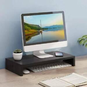 Wood Monitor Stand Speaker TV PC Laptop Computer Screen Riser Desk Storage Black