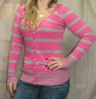 Victoria's Secret Pink 1986 Cozy Sweater Cardigan Hoodie Gray Stripe, XS GUC