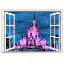 Disney Land Princess Castle 3D Window Wall Decal Kids Sticker Girls Home  Decor