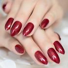 STILETTO *RUBY SLIPPER* Full Cover Red Shimmer Press On 24 Nail Tips + Glue!