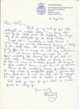 HMS MANCHESTER. 26 August 1982. Signed Letter co.1070