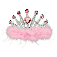 Pink Birthday Princess Womens Adult Plastic Tiara With Marabou